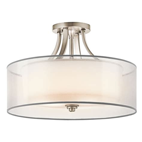 kichler semi flushmount light with white glass in pewter