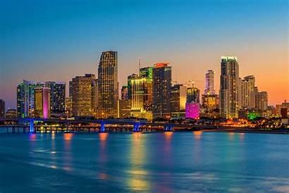 Miami Skyline Florida Sunset Usa Weekend Horizonte