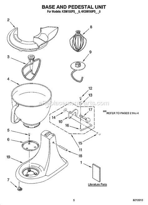 kitchenaid ksmpsbw parts list  diagram