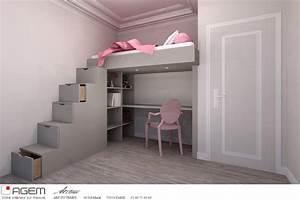 Lit Mezzanine Dressing : lit mezzanine sur mesure art du temps photo n 73 domozoom ~ Premium-room.com Idées de Décoration