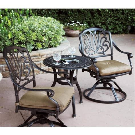 patio furniture bistro set cast aluminum swivel rocker 3pc