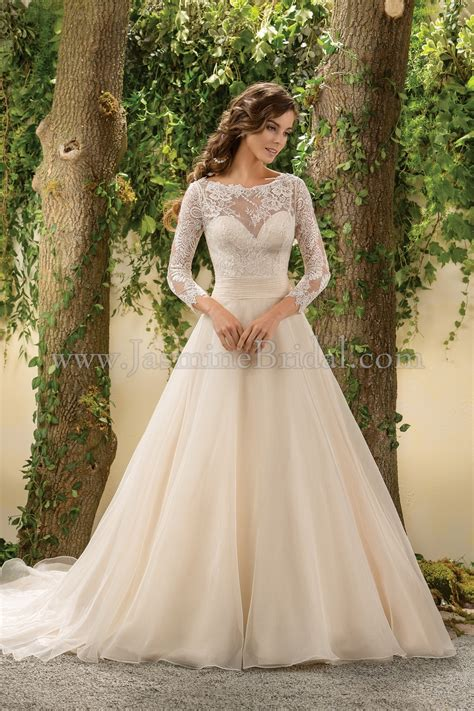 F181005 Illusion Neckline Lace And Organza Wedding Dress