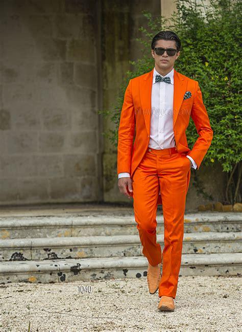 Adesso scegli il tuo proprio abito! Abito da cerimonia uomo Demi - Tight in raso cotone arancio