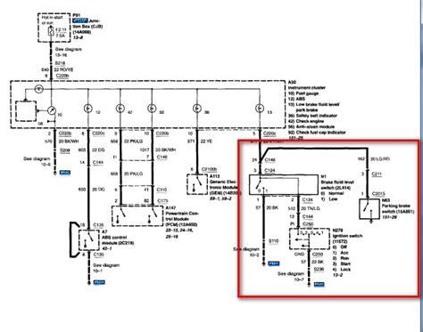 Brake Warning Light Switch Diagram by 02 Ranger No Brake Warning Light In The Cluster