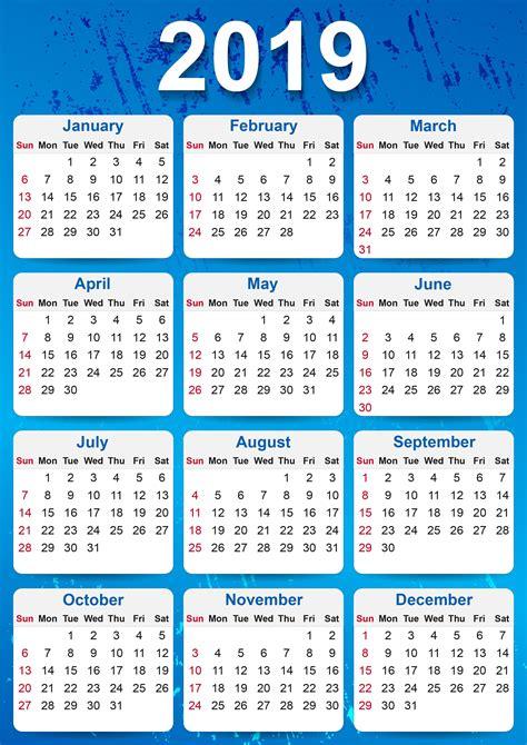 Printable Calendar 2019 Yearly Free