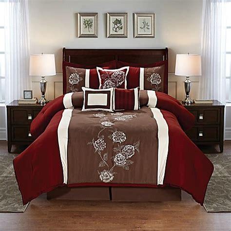 floral  piece comforter set  burgundybrown bed bath