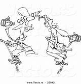 Pogo Coloring Cartoon Patrolling Outlined Sticks Couple Toonaday sketch template