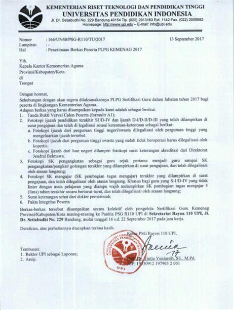Minta Surat Keterangan Akreditasi Perguruan Tinggi by Penerimaan Berkas Peserta Plpg Kemenag 2017 Oleh