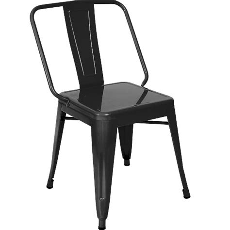 wide bistro style metal chair in black finish
