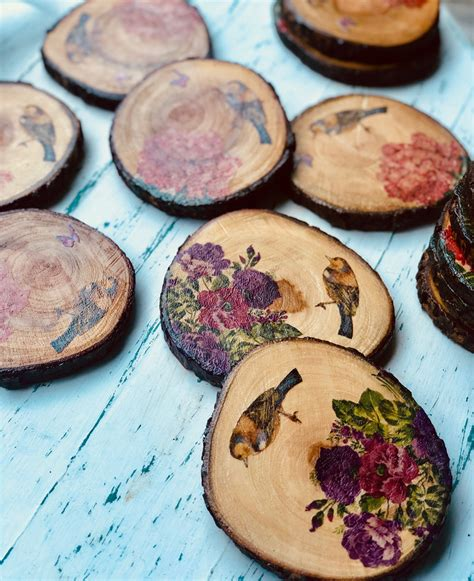 decoupage wooden coasters brio art house