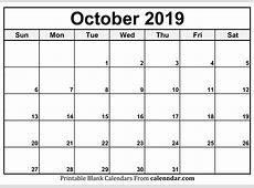 Blank October 2019 Calendar Templates Calenndarcom