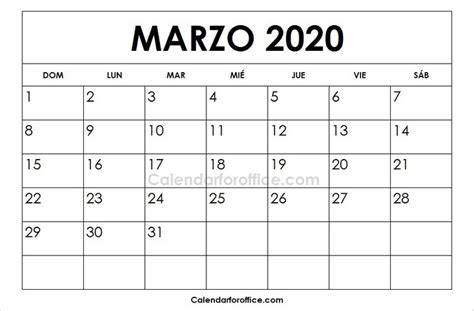 foto de Calendario 2020 Marzo Para Imprimir Calendari