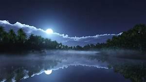 Wallpaper, River, 4k, Hd, Wallpaper, Sea, Palms, Night, Moon