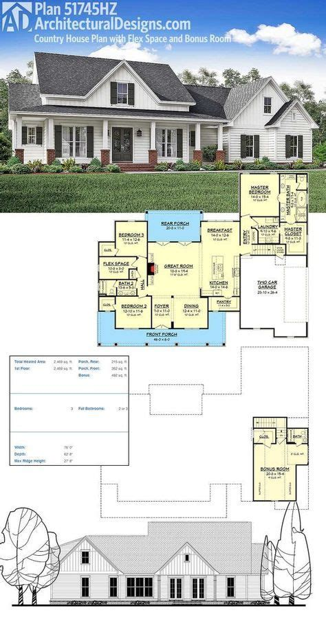 country plans plan 51745hz country house plan with flex space and bonus
