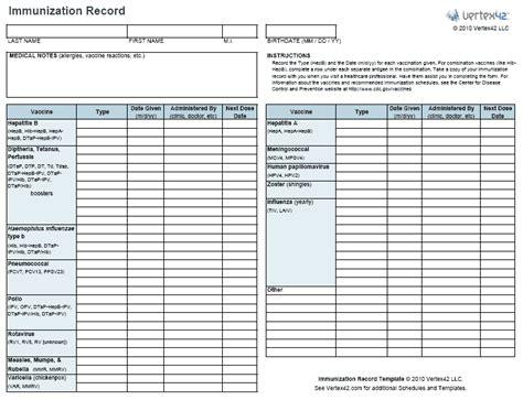 printable immunization schedule and immunization record