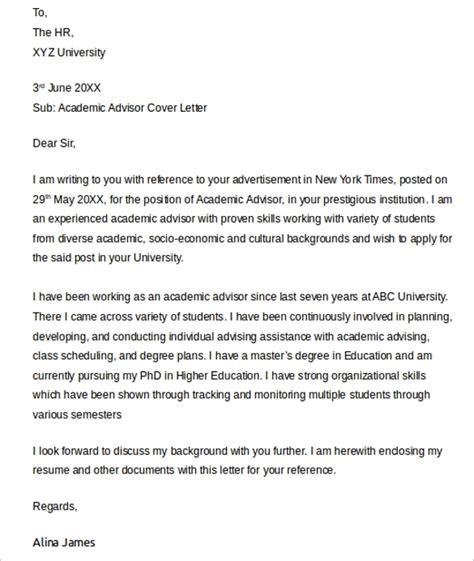 sample academic advisor cover letter   documents