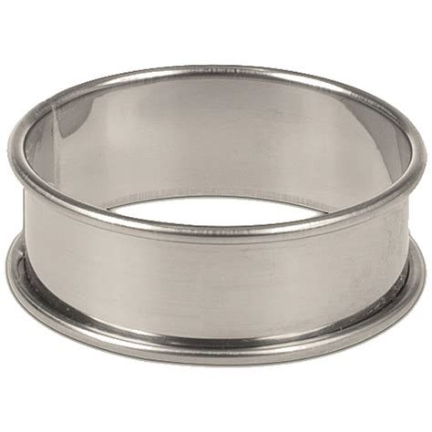"Matfer Bourgeat Stainless Steel Shallow Flan  Dessert Ring Mold, 35"", 6pk, 371707"