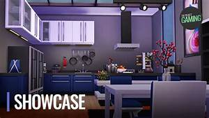 The Sims 4 - Modern Blue Kitchen   Build Cinematic Tour ...