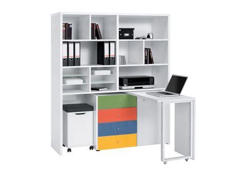 rangement bureau bureau modulable contemporain avec rangement coloris blanc