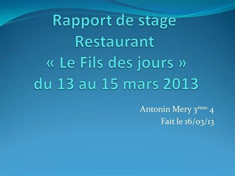 rapport de stage cuisine collective rapport de stage 3ème