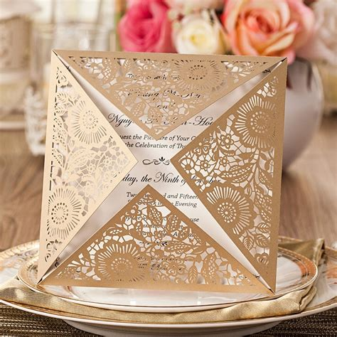 12Pack/Lot Design Rustic Gold Wedding Invitations Laser
