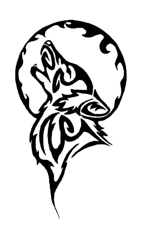 tribal moon  wolf tattoo design