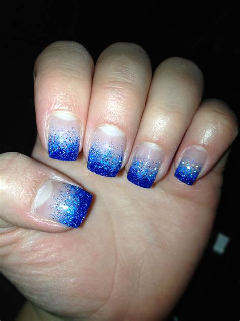 Dark And Light Blue Glitter Gel Nails