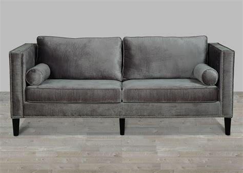 gray velvet sectional sofa grey velvet sofa with nailheads