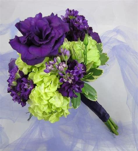 purple lisianthus  lime green hydrangeas  couple