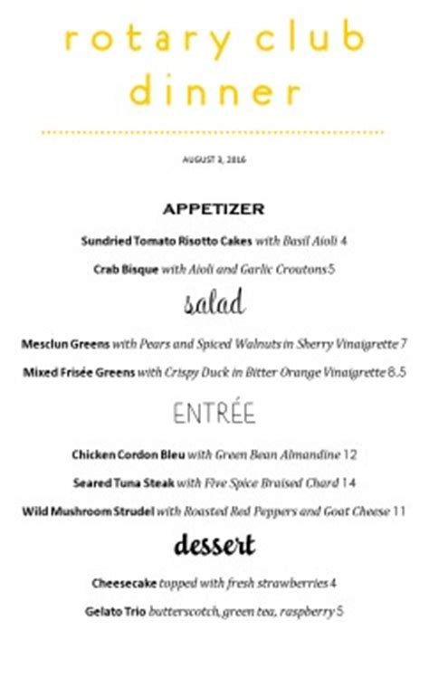 family style banquet menu template archive
