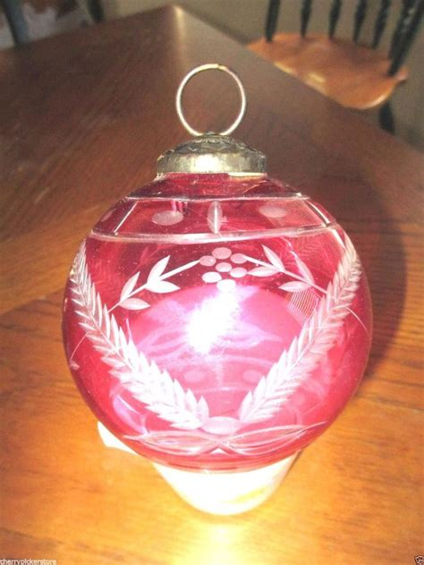 vintage large etched cut glass christmas ball ornament