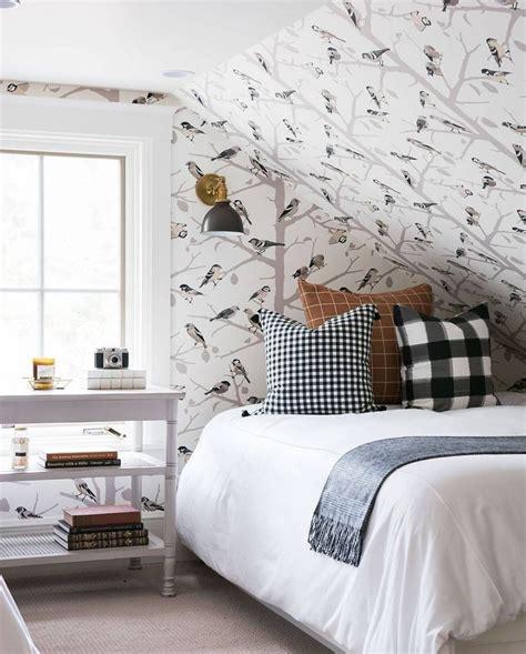 sloped ceiling bird wallpaper white bedding  checked