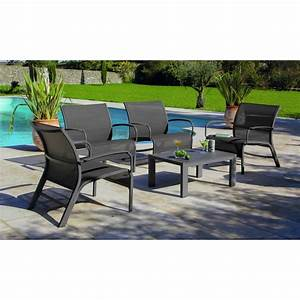 Salon De Jardin Table : salon de jardin lounge linea table basse 4 fauteuils ~ Teatrodelosmanantiales.com Idées de Décoration