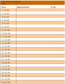 Printable Blank Daily Calendar Template