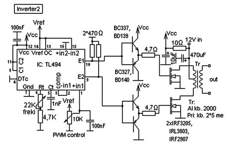 Tl494 Inverter Circuit by Tl494 Inverter Circuit Pwm Inverter Using Ic Tl494