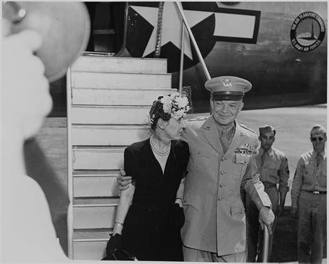 File:General Dwight D. and Mamie Eisenhower descending an airplane ramp, on route to a White