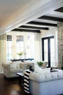 Living Room Dark Wood Ceiling Beams