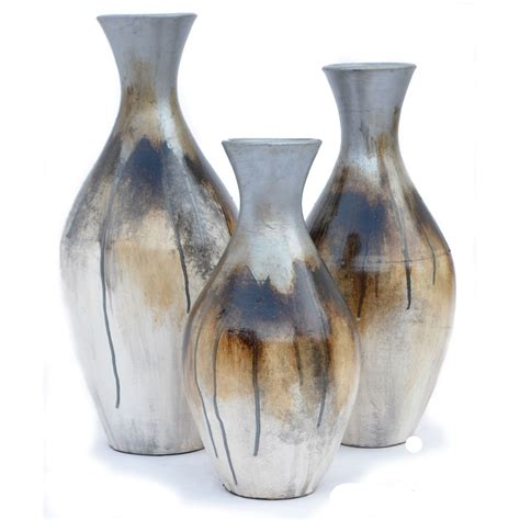 chalote silver vases set of 3