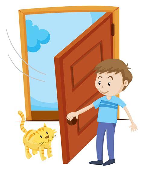 open clipart open the door for pet cat free vector