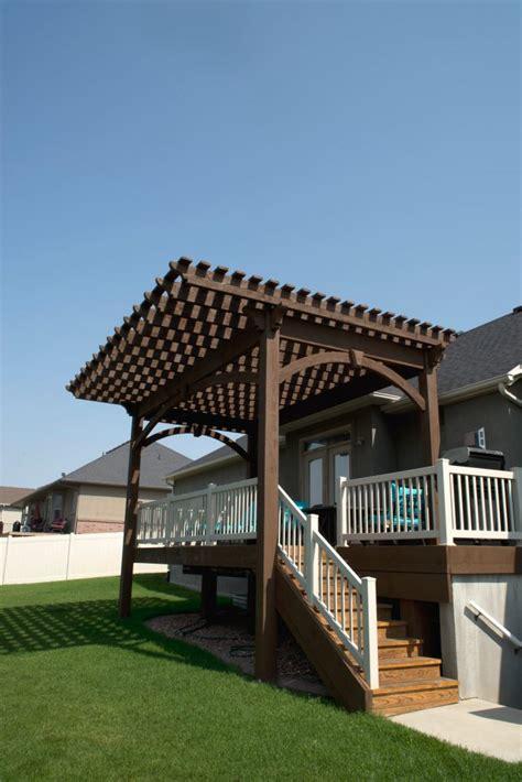 pergola cantilever roof extends shade  backyard deck