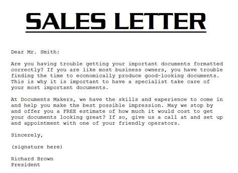 Sample Sales Letter 3000