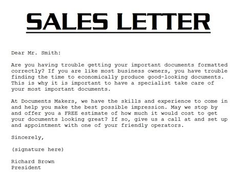 sample sales letter  sales letter template
