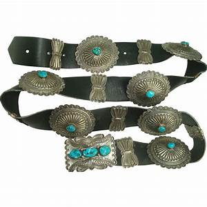 Signed Sterling Turquoise Concho Belt with Butterflies ...