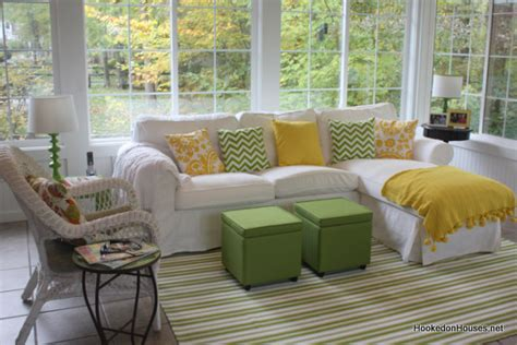 sofas for sunrooms my sunroom in the fall hooked on houses