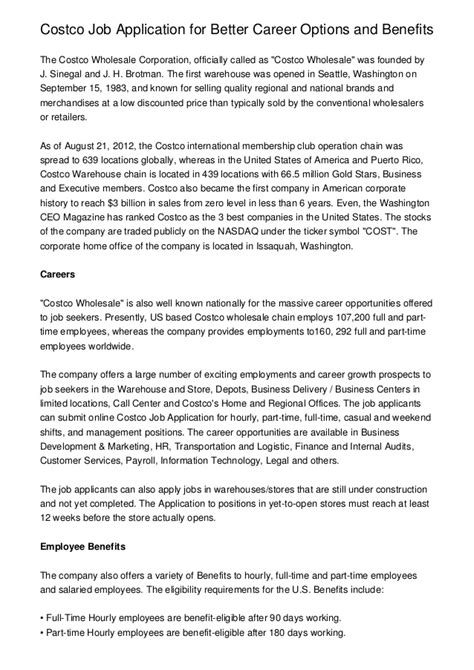 Costco Resume Upload by Costco Application For Better Career Options And Benefits