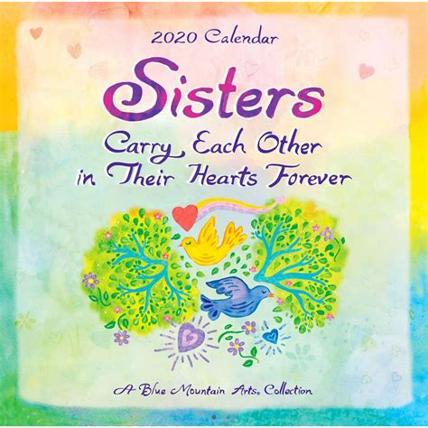 sisters carry mini wall calendar