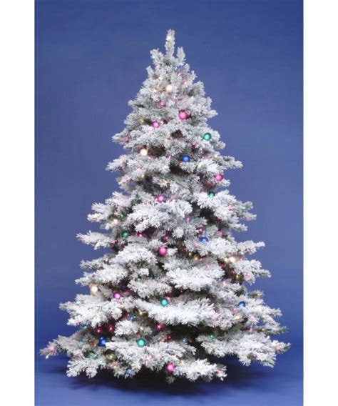 ge alaskan fir flocked pre lit tree 7 5 ft flocked alaskan pre lit tree at hayneedle