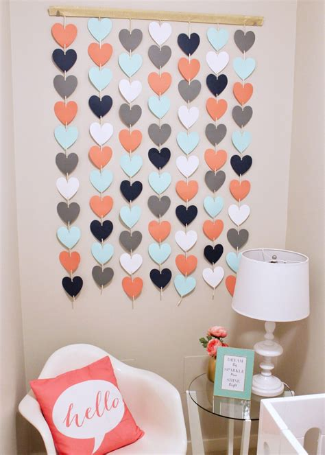 Paper flower wall hanging for wall decoration room decor home decor handmade craft. Valentine Decorations for the Home - PRETEND Magazine