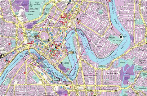 detailed city map  brisbane mapsofnet