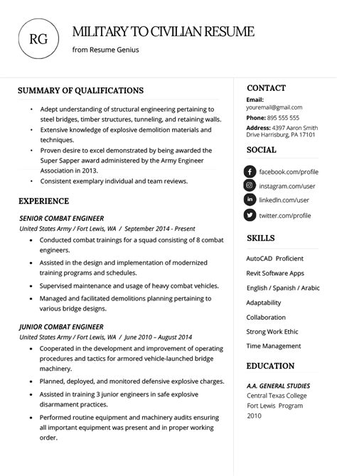 how to write a military to civilian resume resume genius